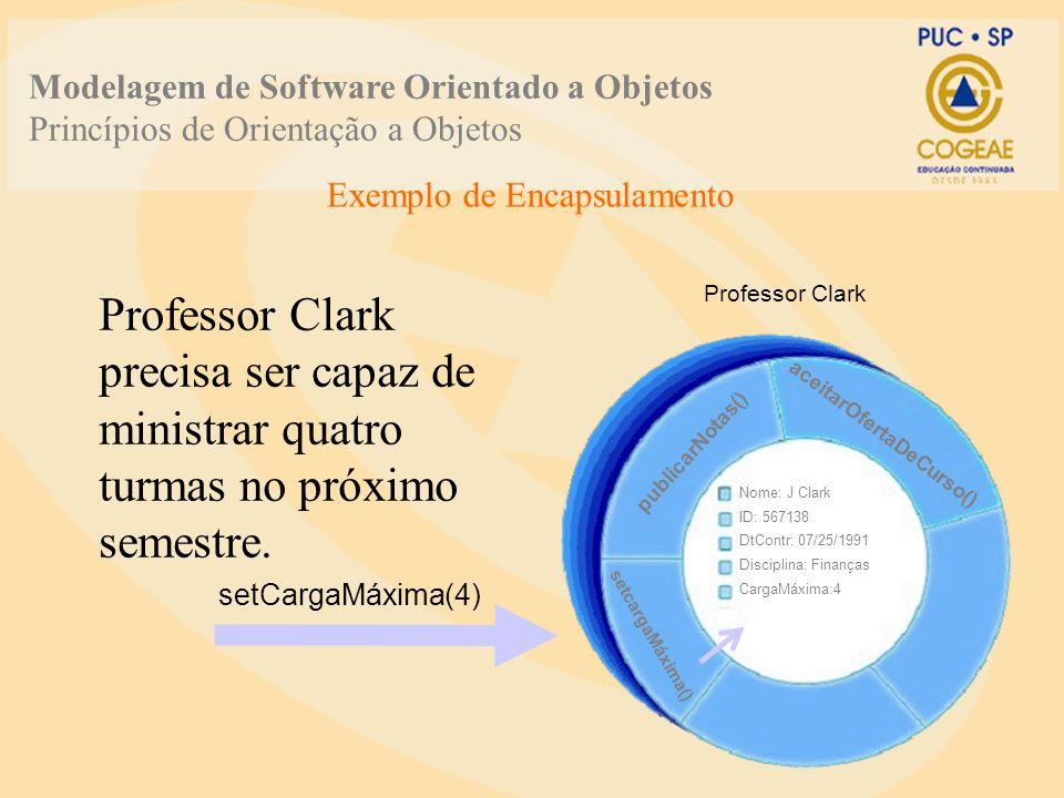 Professor Clark precisa ser capaz de ministrar quatro turmas no próximo semestre. publicarNotas() aceitarOfertaDeCurso() Professor Clark setcargaMáxim