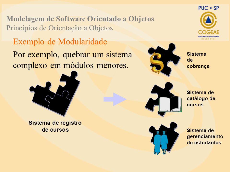 Exemplo de Modularidade Por exemplo, quebrar um sistema complexo em módulos menores. Sistema de cobrança Sistema de registro de cursos Sistema de catá