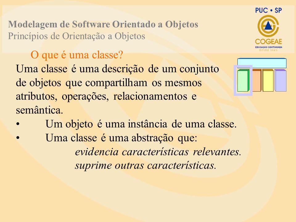 O que é uma classe? Uma classe é uma descrição de um conjunto de objetos que compartilham os mesmos atributos, operações, relacionamentos e semântica.