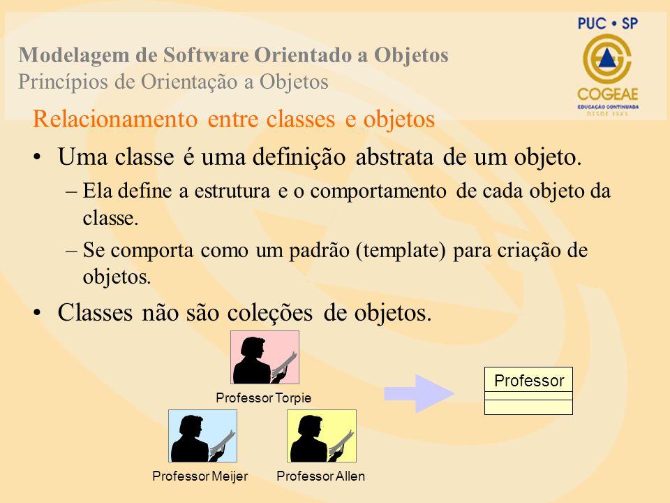 Relacionamento entre classes e objetos Uma classe é uma definição abstrata de um objeto. –Ela define a estrutura e o comportamento de cada objeto da c