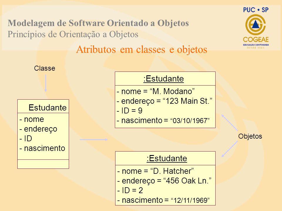 Atributos em classes e objetos Classe Objetos Estudante - nome - endereço - ID - nascimento :Estudante - nome = M. Modano - endereço = 123 Main St. -