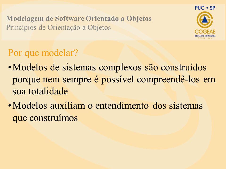 Modelagem de Software Orientado a Objetos Princípios de Orientação a Objetos Por que modelar? Modelos de sistemas complexos são construídos porque nem