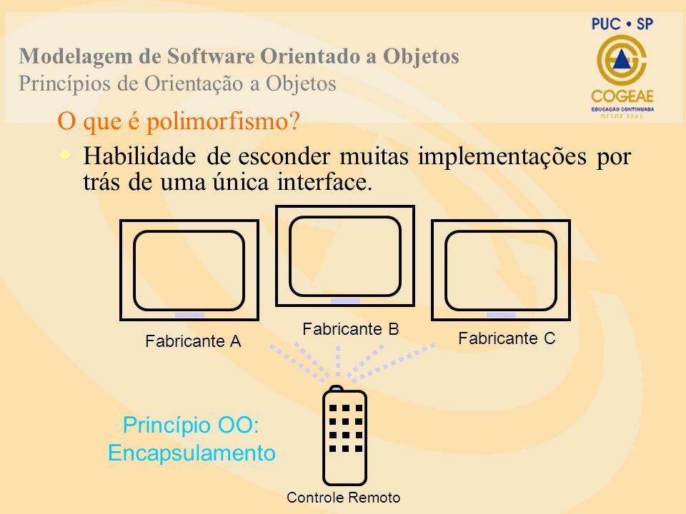 O que é polimorfismo? Habilidade de esconder muitas implementações por trás de uma única interface. Fabricante A Fabricante B Fabricante C Princípio O