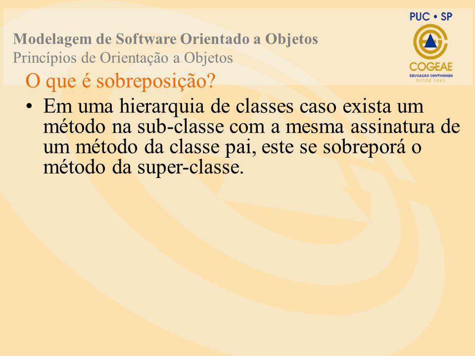 Modelagem de Software Orientado a Objetos Princípios de Orientação a Objetos O que é sobreposição? Em uma hierarquia de classes caso exista um método
