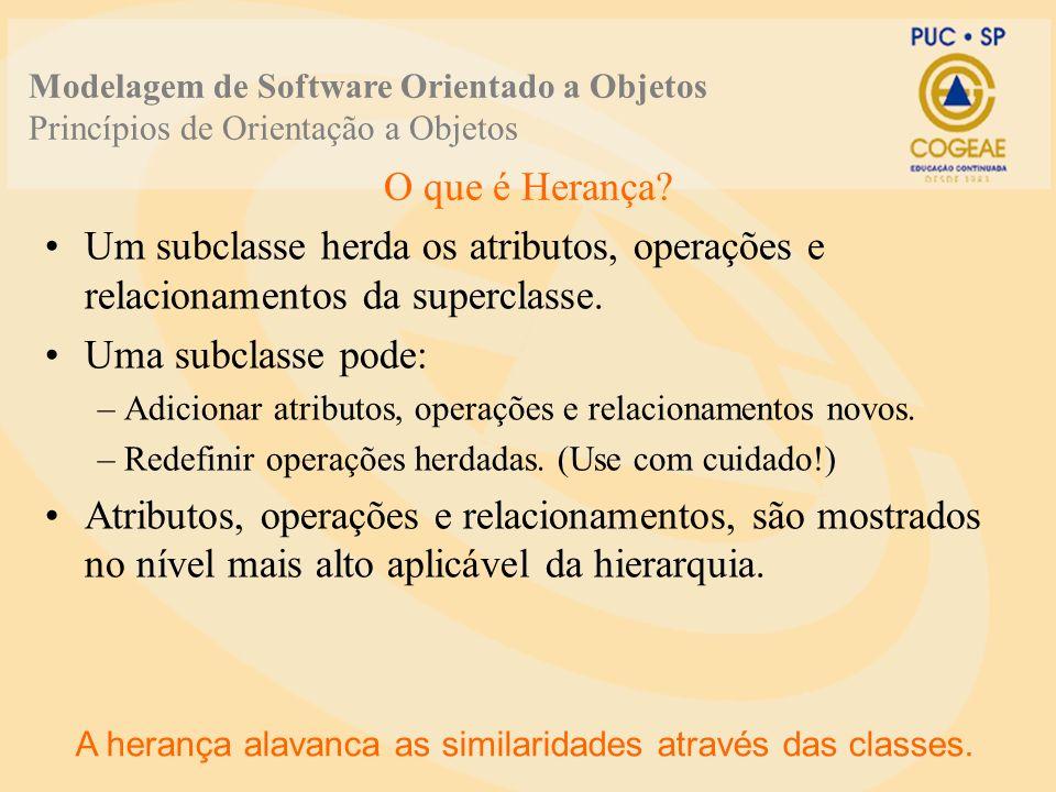 O que é Herança? A herança alavanca as similaridades através das classes. Um subclasse herda os atributos, operações e relacionamentos da superclasse.