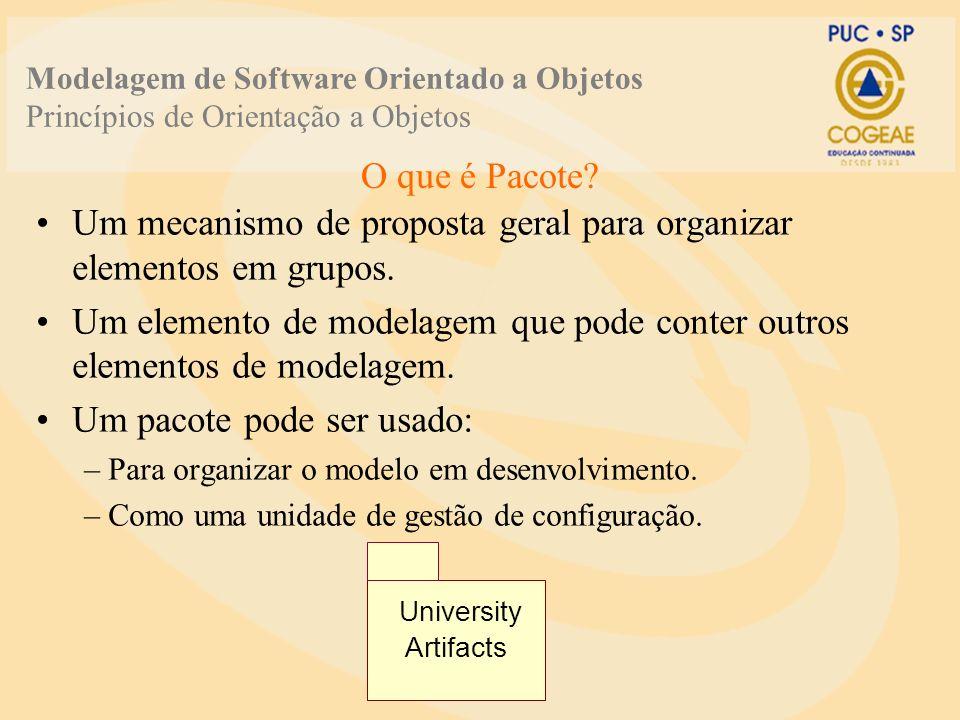 Um mecanismo de proposta geral para organizar elementos em grupos. Um elemento de modelagem que pode conter outros elementos de modelagem. Um pacote p
