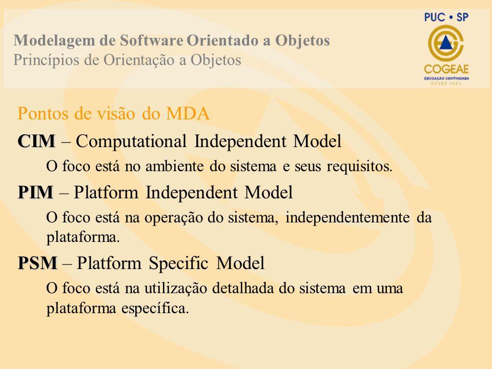 Modelagem de Software Orientado a Objetos Princípios de Orientação a Objetos Pontos de visão do MDA CIM CIM – Computational Independent Model O foco e