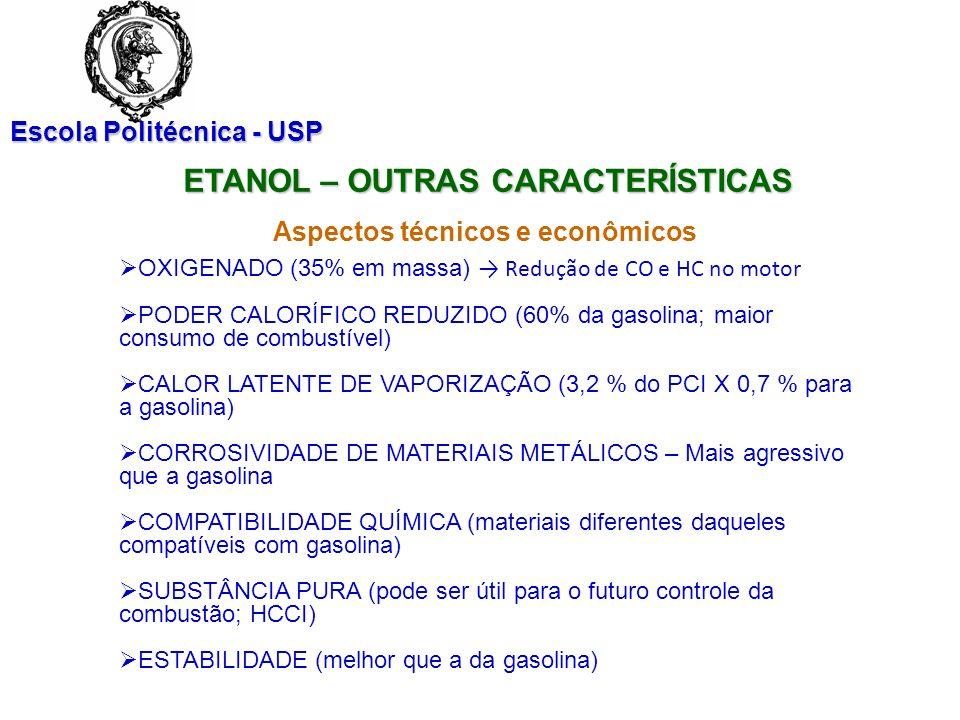 Escola Politécnica - USP ETANOL – OUTRAS CARACTERÍSTICAS Aspectos técnicos e econômicos OXIGENADO (35% em massa) Redução de CO e HC no motor PODER CAL