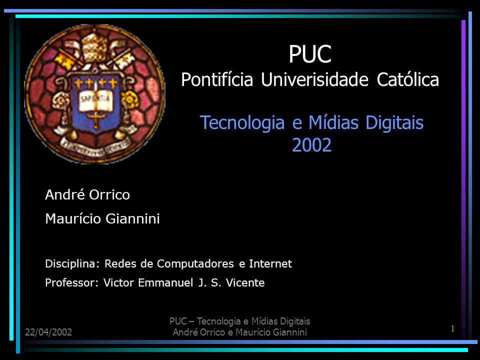 32 22/04/2002 PUC – Tecnologia e Mídias Digitais André Orrico e Maurício Giannini X.25 Exemplo de uma WAN X.25