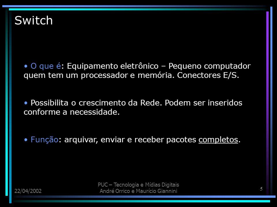 6 22/04/2002 PUC – Tecnologia e Mídias Digitais André Orrico e Maurício Giannini Switch 16 portas(10mbits) de par trançado e 2 de fibra óptica (100mbits)