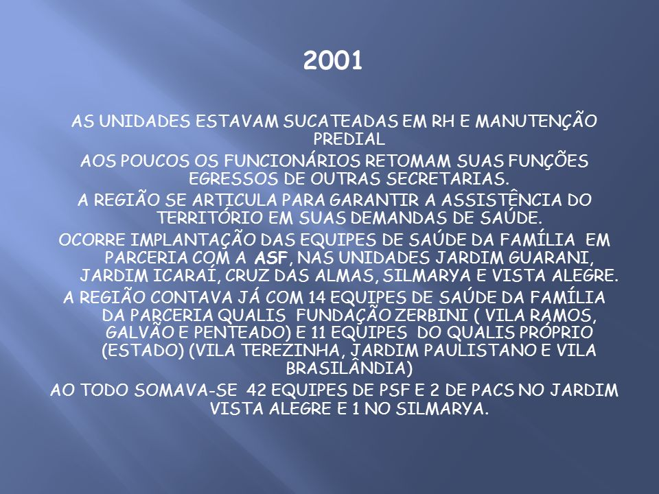 2001 AS UNIDADES ESTAVAM SUCATEADAS EM RH E MANUTENÇÃO PREDIAL AOS POUCOS OS FUNCIONÁRIOS RETOMAM SUAS FUNÇÕES EGRESSOS DE OUTRAS SECRETARIAS. A REGIÃ