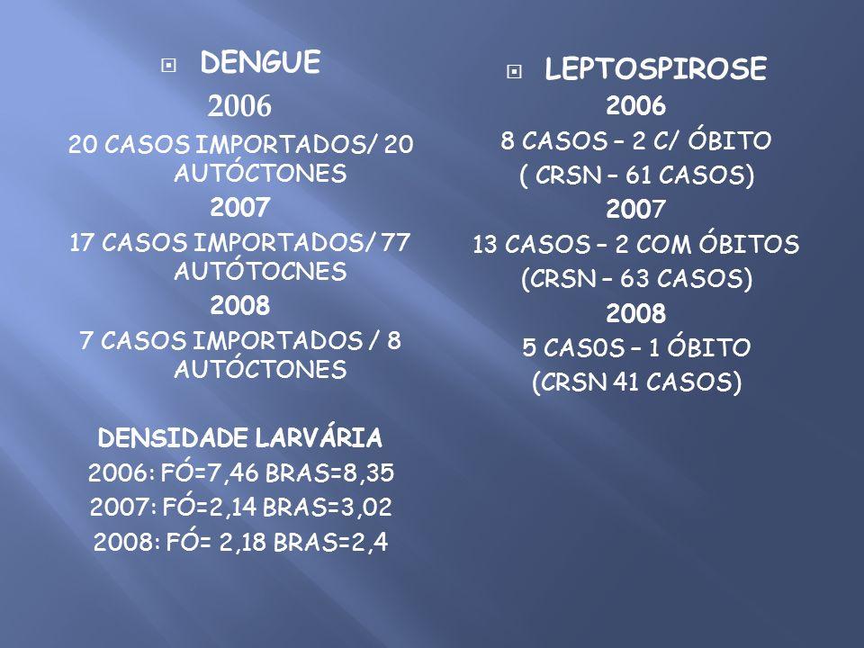 DENGUE 2006 20 CASOS IMPORTADOS/ 20 AUTÓCTONES 2007 17 CASOS IMPORTADOS/ 77 AUTÓTOCNES 2008 7 CASOS IMPORTADOS / 8 AUTÓCTONES DENSIDADE LARVÁRIA 2006: