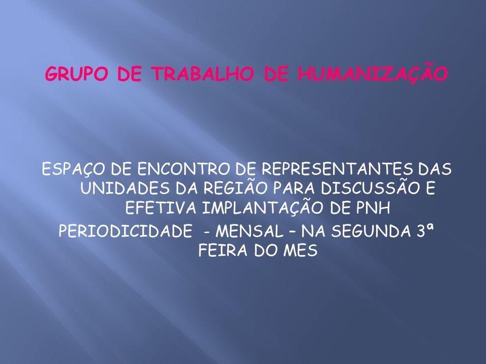 GRUPO DE TRABALHO DE HUMANIZAÇÃO ESPAÇO DE ENCONTRO DE REPRESENTANTES DAS UNIDADES DA REGIÃO PARA DISCUSSÃO E EFETIVA IMPLANTAÇÃO DE PNH PERIODICIDADE