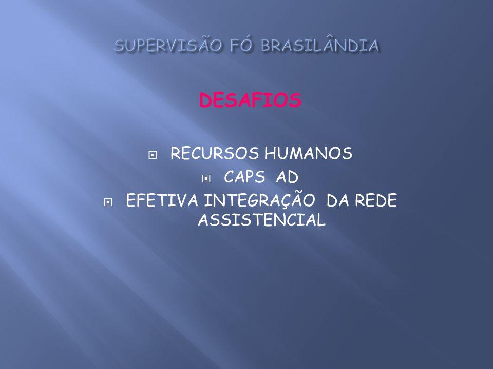 DESAFIOS RECURSOS HUMANOS CAPS AD EFETIVA INTEGRAÇÃO DA REDE ASSISTENCIAL