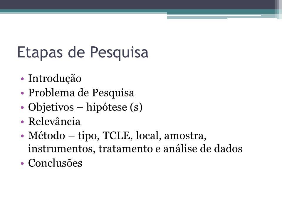 Etapas de Pesquisa Introdução Problema de Pesquisa Objetivos – hipótese (s) Relevância Método – tipo, TCLE, local, amostra, instrumentos, tratamento e