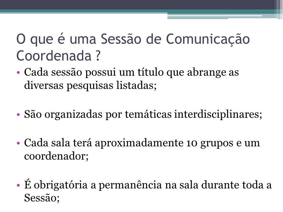O que é uma Sessão de Comunicação Coordenada ? Cada sessão possui um título que abrange as diversas pesquisas listadas; São organizadas por temáticas