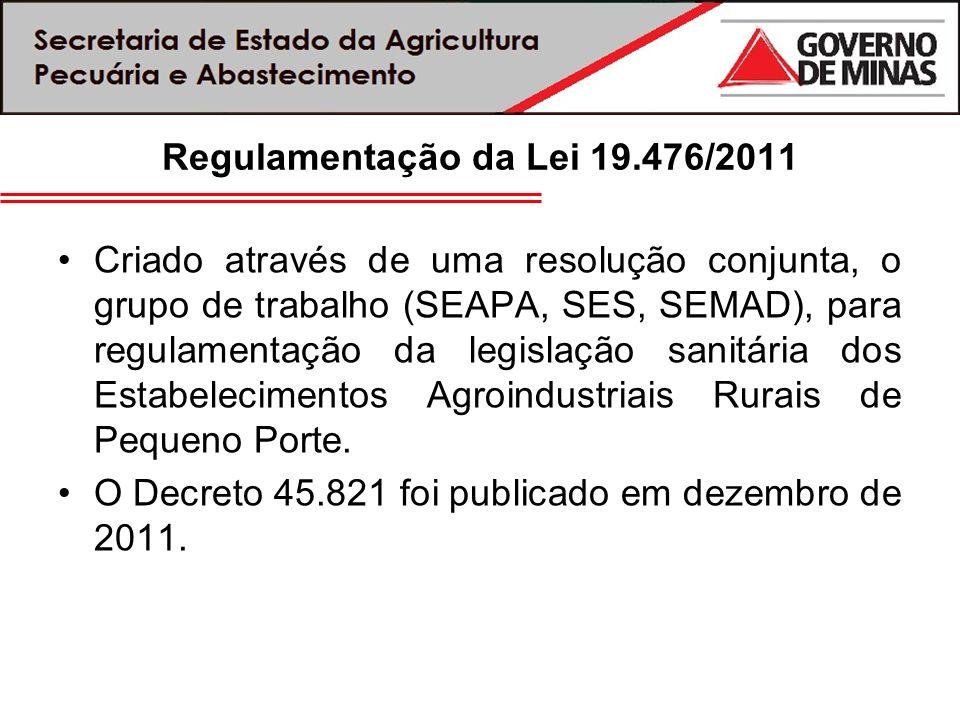 Regulamentação da Lei 19.476/2011 Criado através de uma resolução conjunta, o grupo de trabalho (SEAPA, SES, SEMAD), para regulamentação da legislação