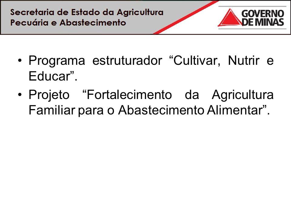 Programa estruturador Cultivar, Nutrir e Educar. Projeto Fortalecimento da Agricultura Familiar para o Abastecimento Alimentar.