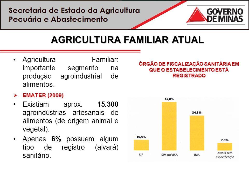 Agricultura Familiar: importante segmento na produção agroindustrial de alimentos. EMATER (2009) EMATER (2009) Existiam aprox. 15.300 agroindústrias a