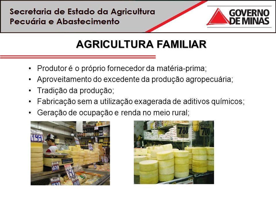 Produtor é o próprio fornecedor da matéria-prima; Aproveitamento do excedente da produção agropecuária; Tradição da produção; Fabricação sem a utiliza