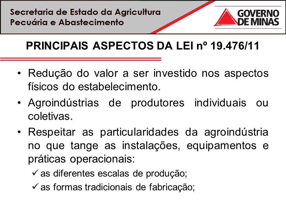 PRINCIPAIS ASPECTOS DA LEI nº 19.476/11 Redução do valor a ser investido nos aspectos físicos do estabelecimento. Agroindústrias de produtores individ