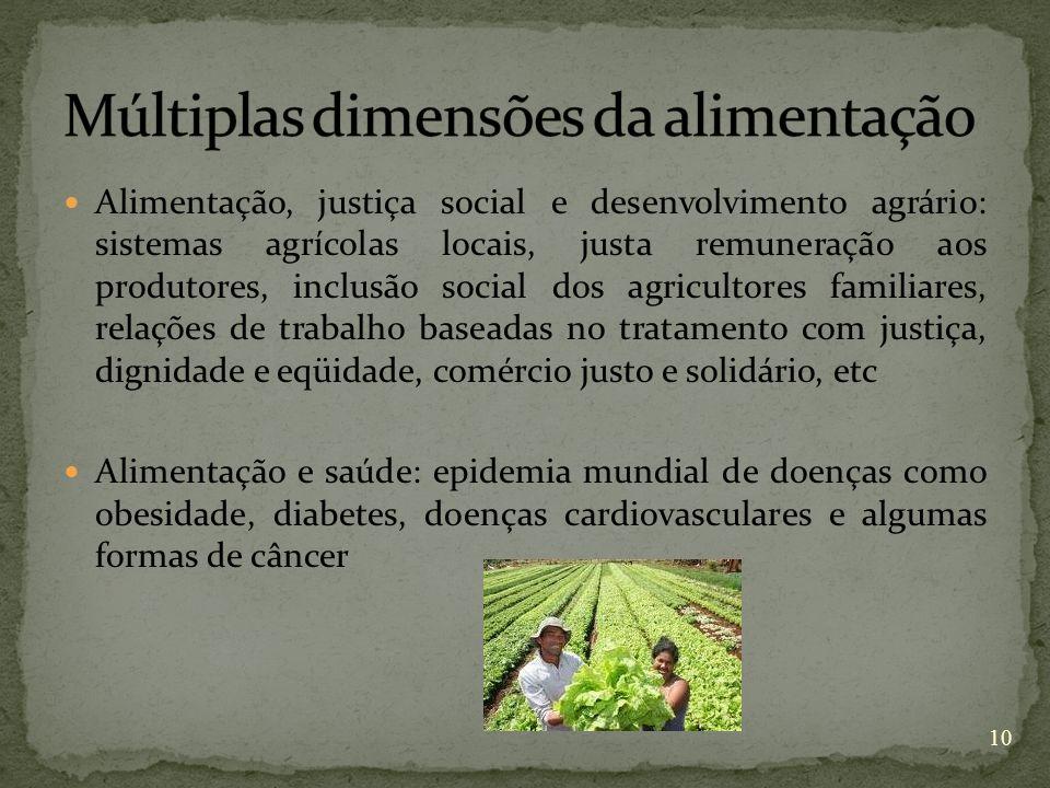 Alimentação, justiça social e desenvolvimento agrário: sistemas agrícolas locais, justa remuneração aos produtores, inclusão social dos agricultores f
