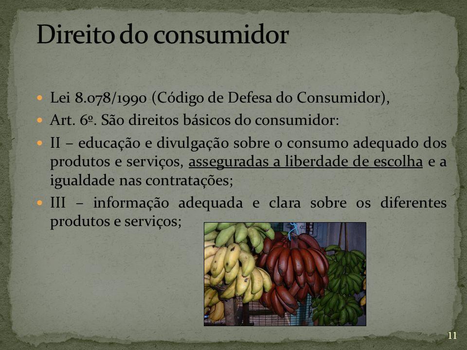 Lei 8.078/1990 (Código de Defesa do Consumidor), Art. 6º. São direitos básicos do consumidor: II – educação e divulgação sobre o consumo adequado dos