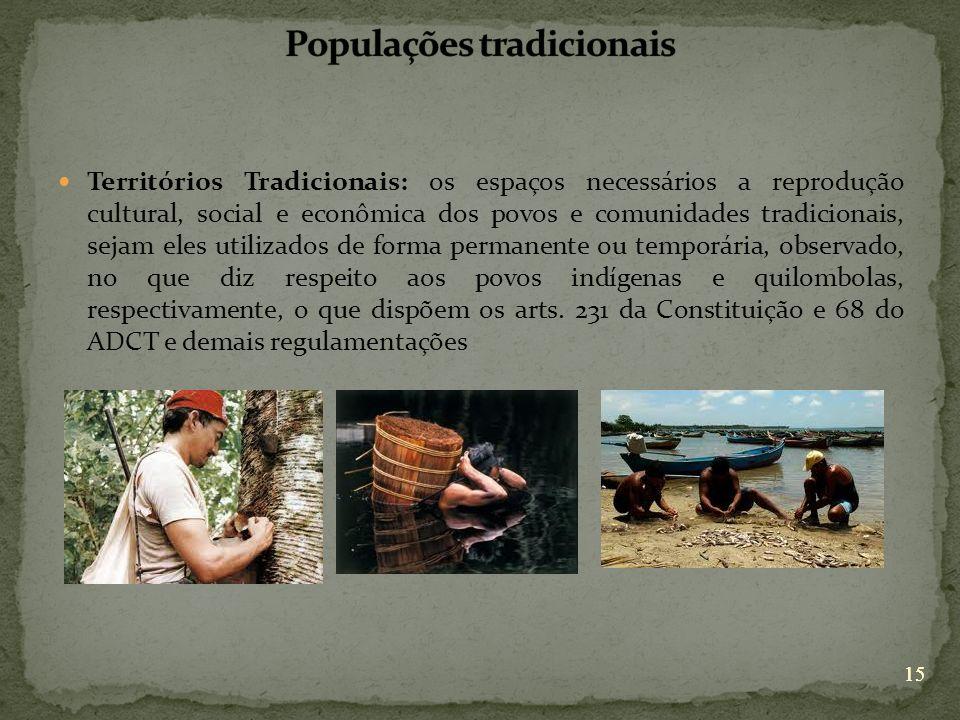 15 Territórios Tradicionais: os espaços necessários a reprodução cultural, social e econômica dos povos e comunidades tradicionais, sejam eles utiliza