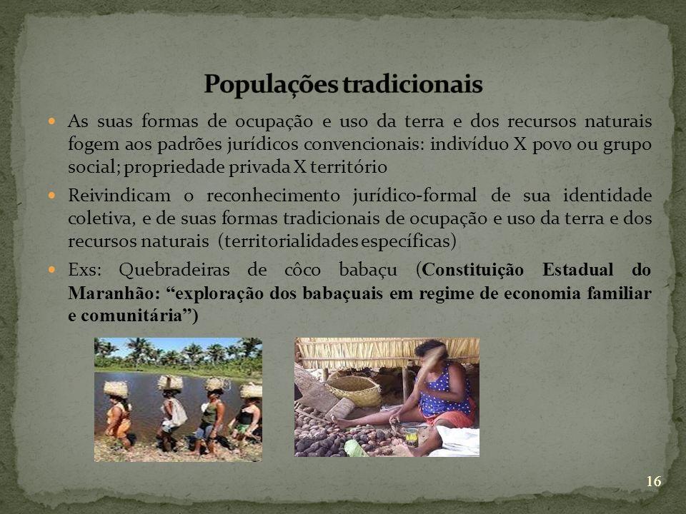 16 As suas formas de ocupação e uso da terra e dos recursos naturais fogem aos padrões jurídicos convencionais: indivíduo X povo ou grupo social; prop