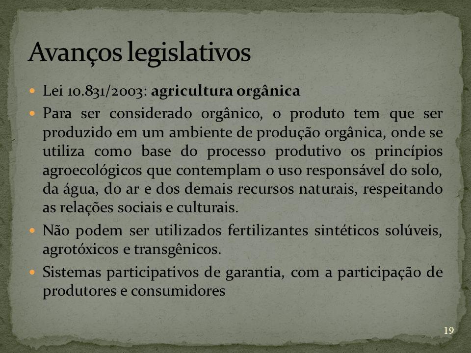 Lei 10.831/2003: agricultura orgânica Para ser considerado orgânico, o produto tem que ser produzido em um ambiente de produção orgânica, onde se util