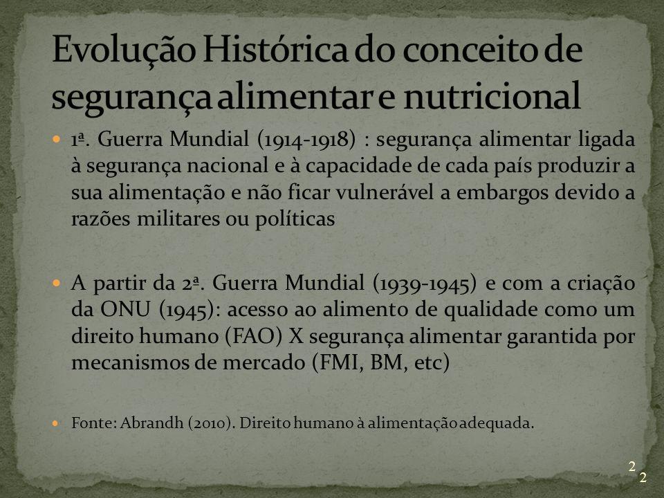 2 1ª. Guerra Mundial (1914-1918) : segurança alimentar ligada à segurança nacional e à capacidade de cada país produzir a sua alimentação e não ficar