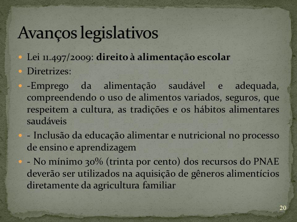 Lei 11.497/2009: direito à alimentação escolar Diretrizes: -Emprego da alimentação saudável e adequada, compreendendo o uso de alimentos variados, seg