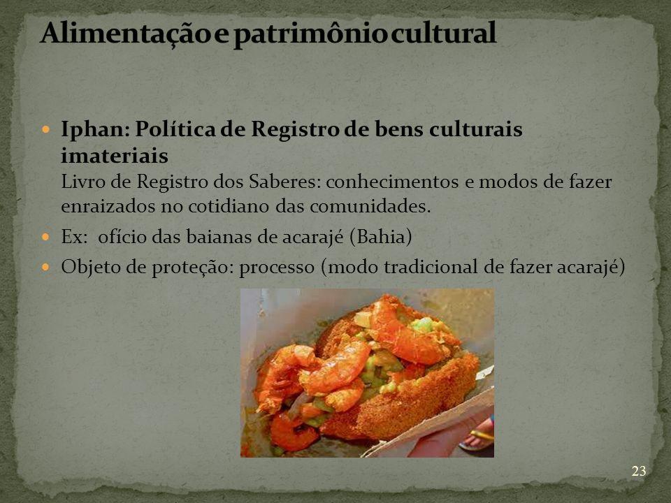 Iphan: Política de Registro de bens culturais imateriais Livro de Registro dos Saberes: conhecimentos e modos de fazer enraizados no cotidiano das com