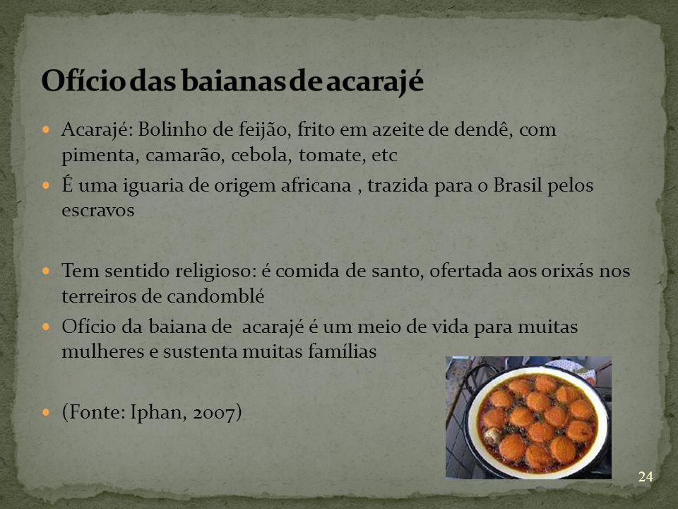 Acarajé: Bolinho de feijão, frito em azeite de dendê, com pimenta, camarão, cebola, tomate, etc É uma iguaria de origem africana, trazida para o Brasi