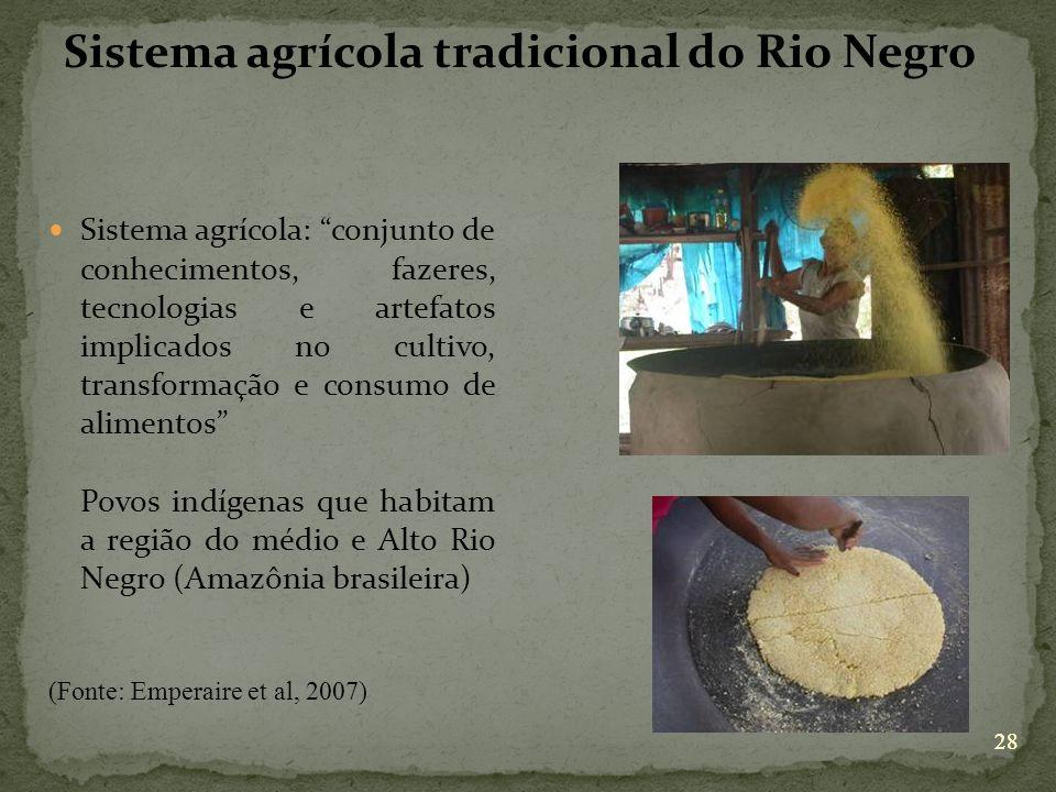 28 Sistema agrícola tradicional do Rio Negro Sistema agrícola: conjunto de conhecimentos, fazeres, tecnologias e artefatos implicados no cultivo, tran