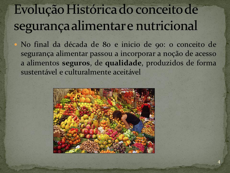 No final da década de 80 e inicio de 90: o conceito de segurança alimentar passou a incorporar a noção de acesso a alimentos seguros, de qualidade, pr