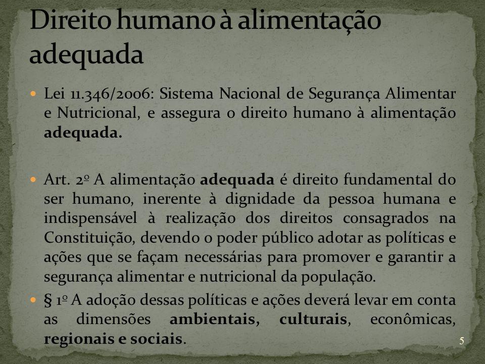 Lei 11.346/2006: Sistema Nacional de Segurança Alimentar e Nutricional, e assegura o direito humano à alimentação adequada. Art. 2 o A alimentação ade