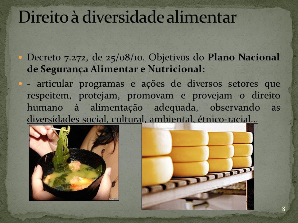 8 Decreto 7.272, de 25/08/10. Objetivos do Plano Nacional de Segurança Alimentar e Nutricional: - articular programas e ações de diversos setores que