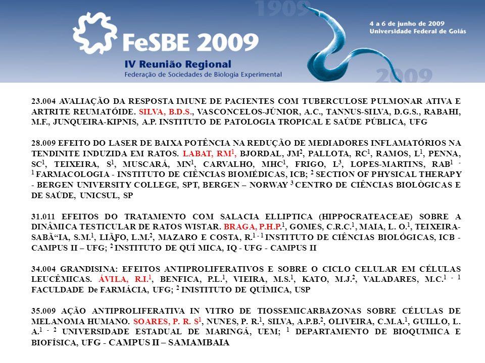 23.004 AVALIAÇÃO DA RESPOSTA IMUNE DE PACIENTES COM TUBERCULOSE PULMONAR ATIVA E ARTRITE REUMATÓIDE. SILVA, B.D.S., VASCONCELOS-JÚNIOR, A.C., TANNUS-S