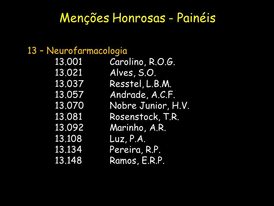 13 – Neurofarmacologia 13.001Carolino, R.O.G. 13.021Alves, S.O. 13.037Resstel, L.B.M. 13.057Andrade, A.C.F. 13.070Nobre Junior, H.V. 13.081Rosenstock,