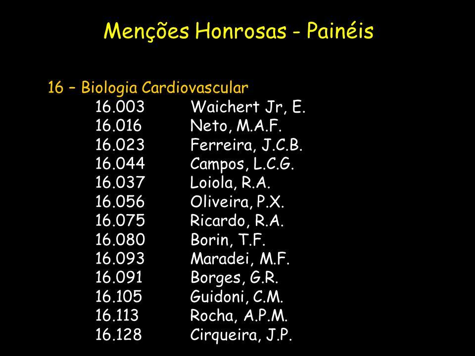 16 – Biologia Cardiovascular 16.003Waichert Jr, E. 16.016Neto, M.A.F. 16.023Ferreira, J.C.B. 16.044Campos, L.C.G. 16.037Loiola, R.A. 16.056Oliveira, P