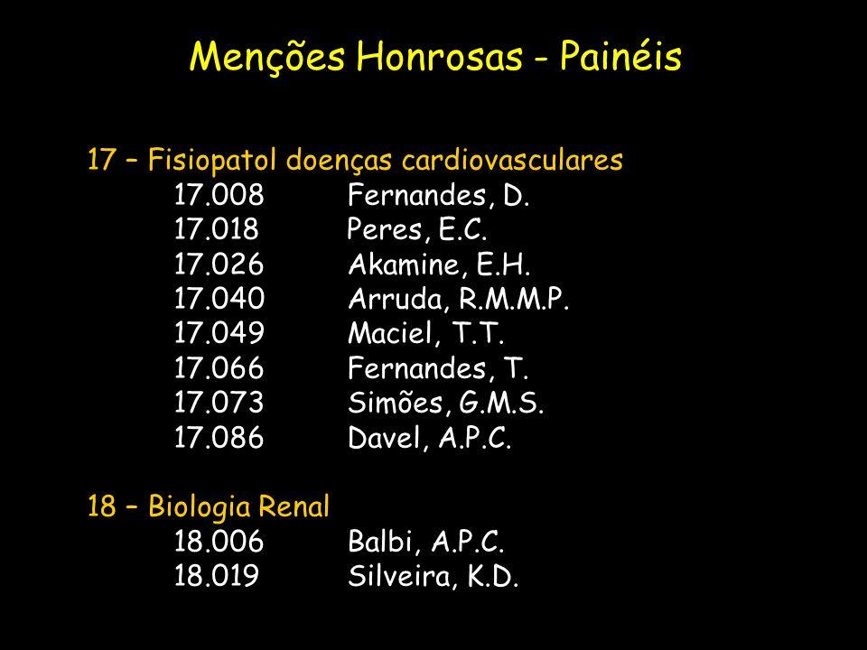 17 – Fisiopatol doenças cardiovasculares 17.008Fernandes, D. 17.018Peres, E.C. 17.026Akamine, E.H. 17.040Arruda, R.M.M.P. 17.049Maciel, T.T. 17.066Fer
