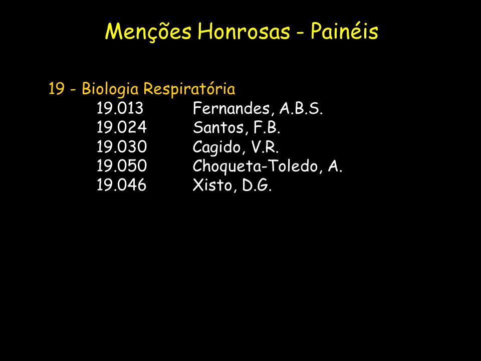 19 - Biologia Respiratória 19.013Fernandes, A.B.S. 19.024Santos, F.B. 19.030Cagido, V.R. 19.050Choqueta-Toledo, A. 19.046Xisto, D.G. Menções Honrosas