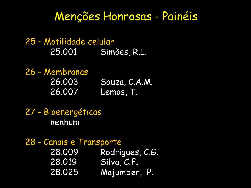 25 – Motilidade celular 25.001Simões, R.L. 26 – Membranas 26.003Souza, C.A.M. 26.007Lemos, T. 27 - Bioenergéticas nenhum 28 - Canais e Transporte 28.0