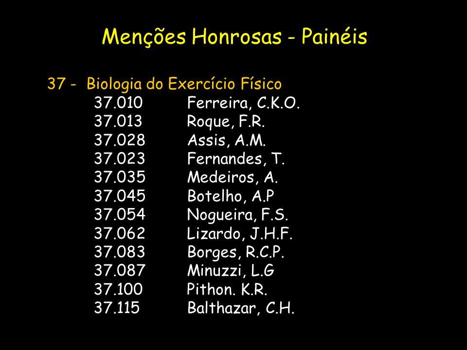37 - Biologia do Exercício Físico 37.010Ferreira, C.K.O. 37.013Roque, F.R. 37.028Assis, A.M. 37.023Fernandes, T. 37.035Medeiros, A. 37.045Botelho, A.P