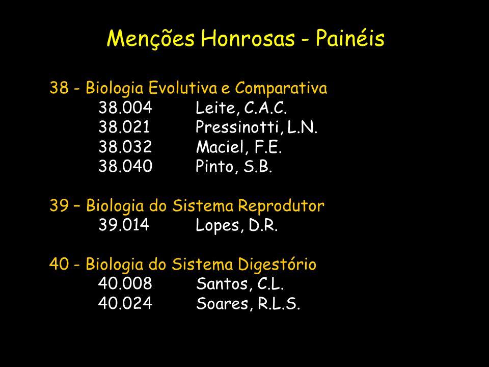 38 - Biologia Evolutiva e Comparativa 38.004Leite, C.A.C. 38.021Pressinotti, L.N. 38.032Maciel, F.E. 38.040Pinto, S.B. 39 – Biologia do Sistema Reprod