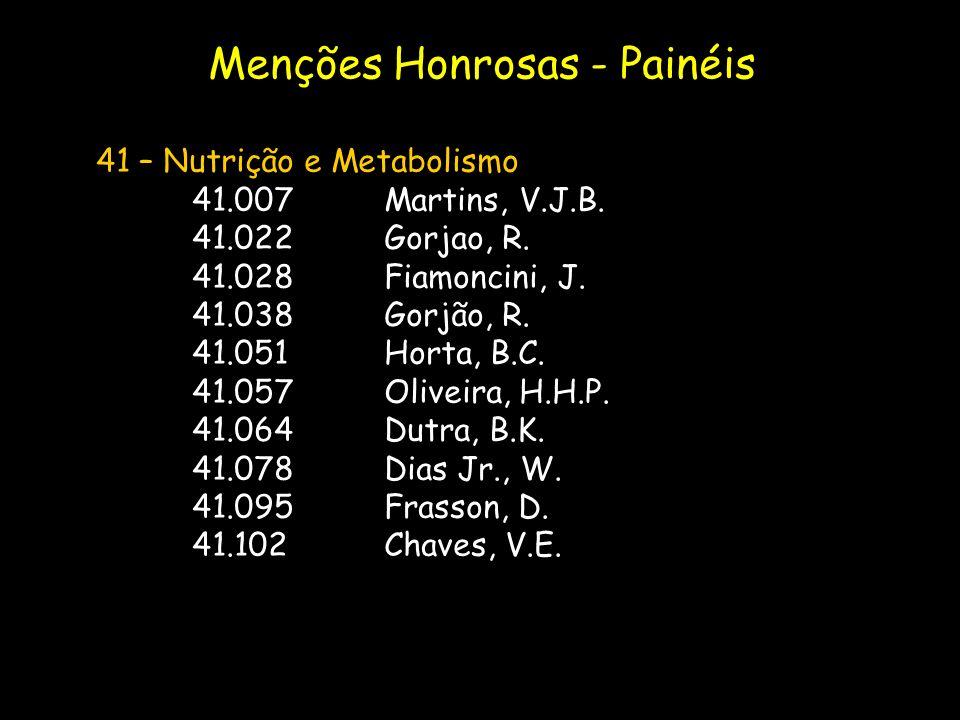 41 – Nutrição e Metabolismo 41.007Martins, V.J.B. 41.022Gorjao, R. 41.028Fiamoncini, J. 41.038Gorjão, R. 41.051Horta, B.C. 41.057Oliveira, H.H.P. 41.0