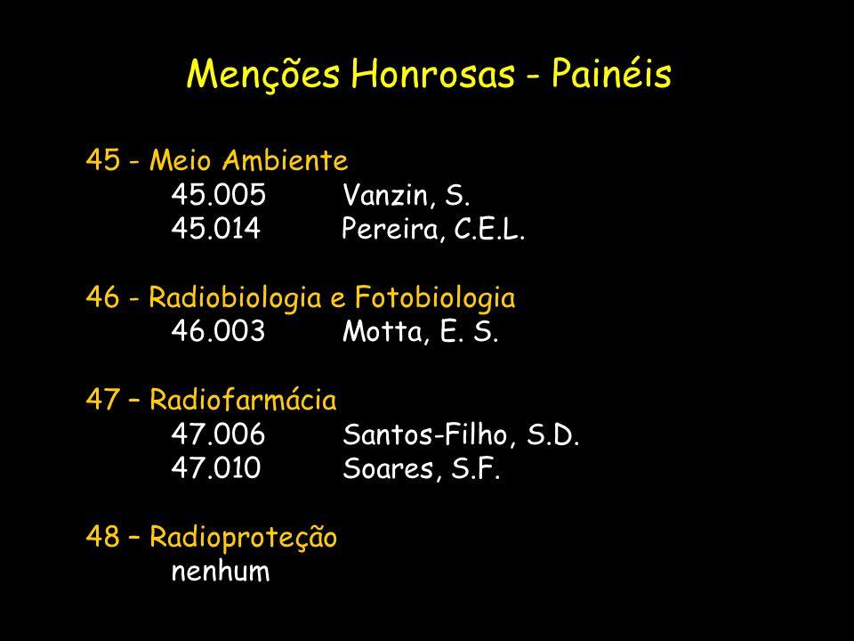 45 - Meio Ambiente 45.005Vanzin, S. 45.014Pereira, C.E.L. 46 - Radiobiologia e Fotobiologia 46.003Motta, E. S. 47 – Radiofarmácia 47.006Santos-Filho,
