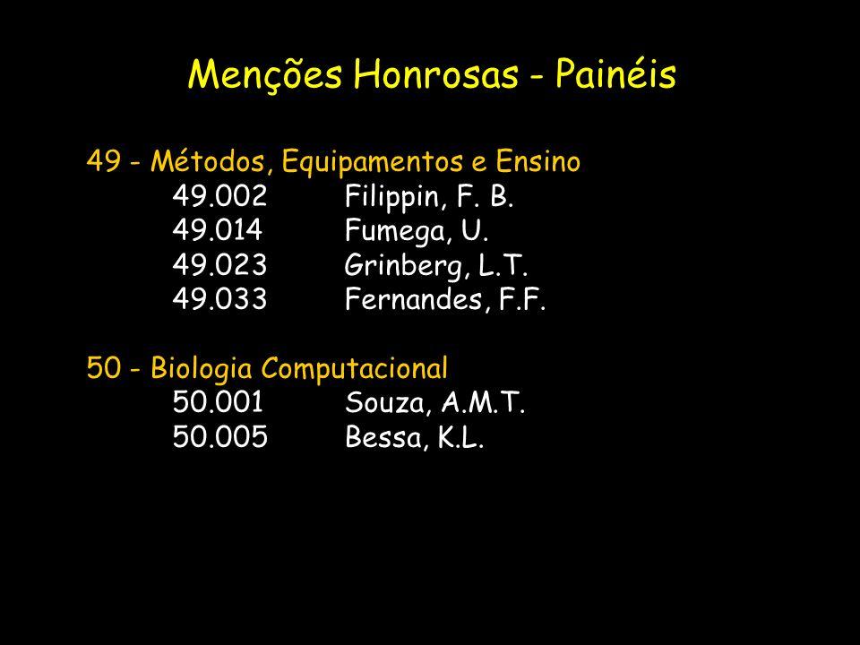 49 - Métodos, Equipamentos e Ensino 49.002Filippin, F. B. 49.014Fumega, U. 49.023Grinberg, L.T. 49.033Fernandes, F.F. 50 - Biologia Computacional 50.0