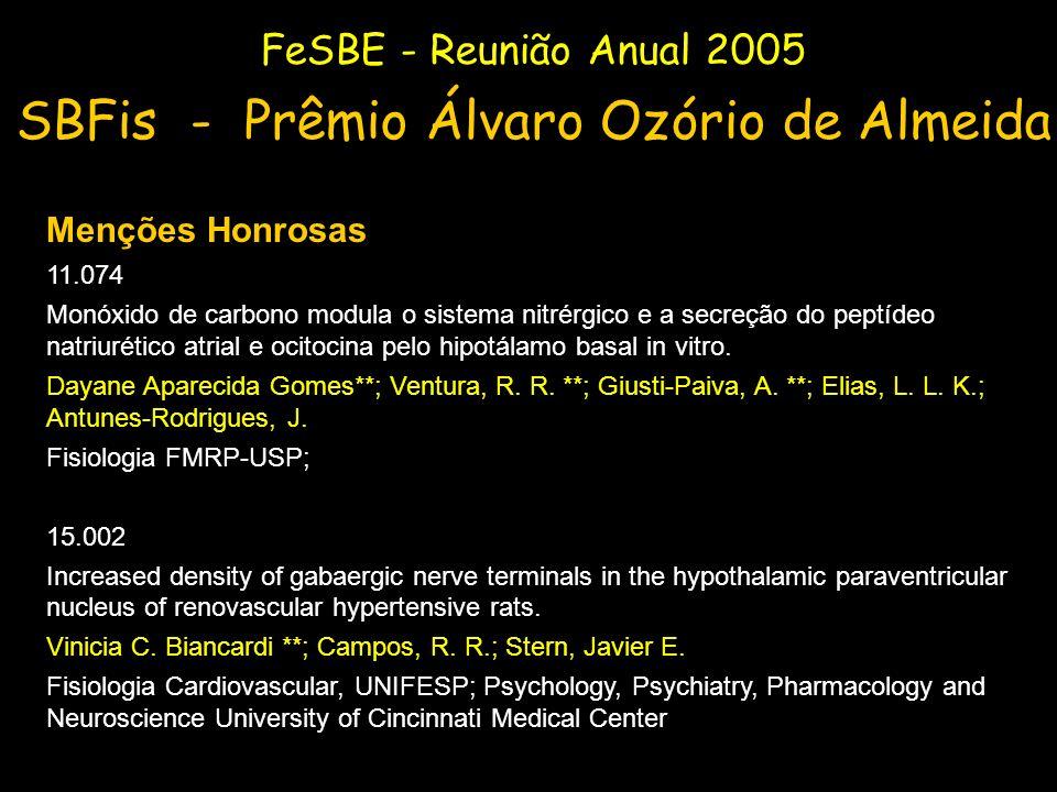 FeSBE - Reunião Anual 2005 SBFis - Prêmio Álvaro Ozório de Almeida Menções Honrosas 11.074 Monóxido de carbono modula o sistema nitrérgico e a secreçã